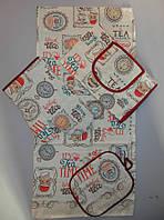 Набор кухонный льняной полотенце, прихватка , рукавица, передник