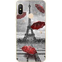 Силиконовый чехол бампер для Xiaomi Redmi S2 с рисунком Дождь в Париже