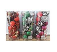 Іграшки №DC20-17010  Новорічний набір 4см. 20 шт/круг.банка  10466