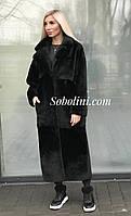 Шуба-пальто из меха мутона, длина 120см