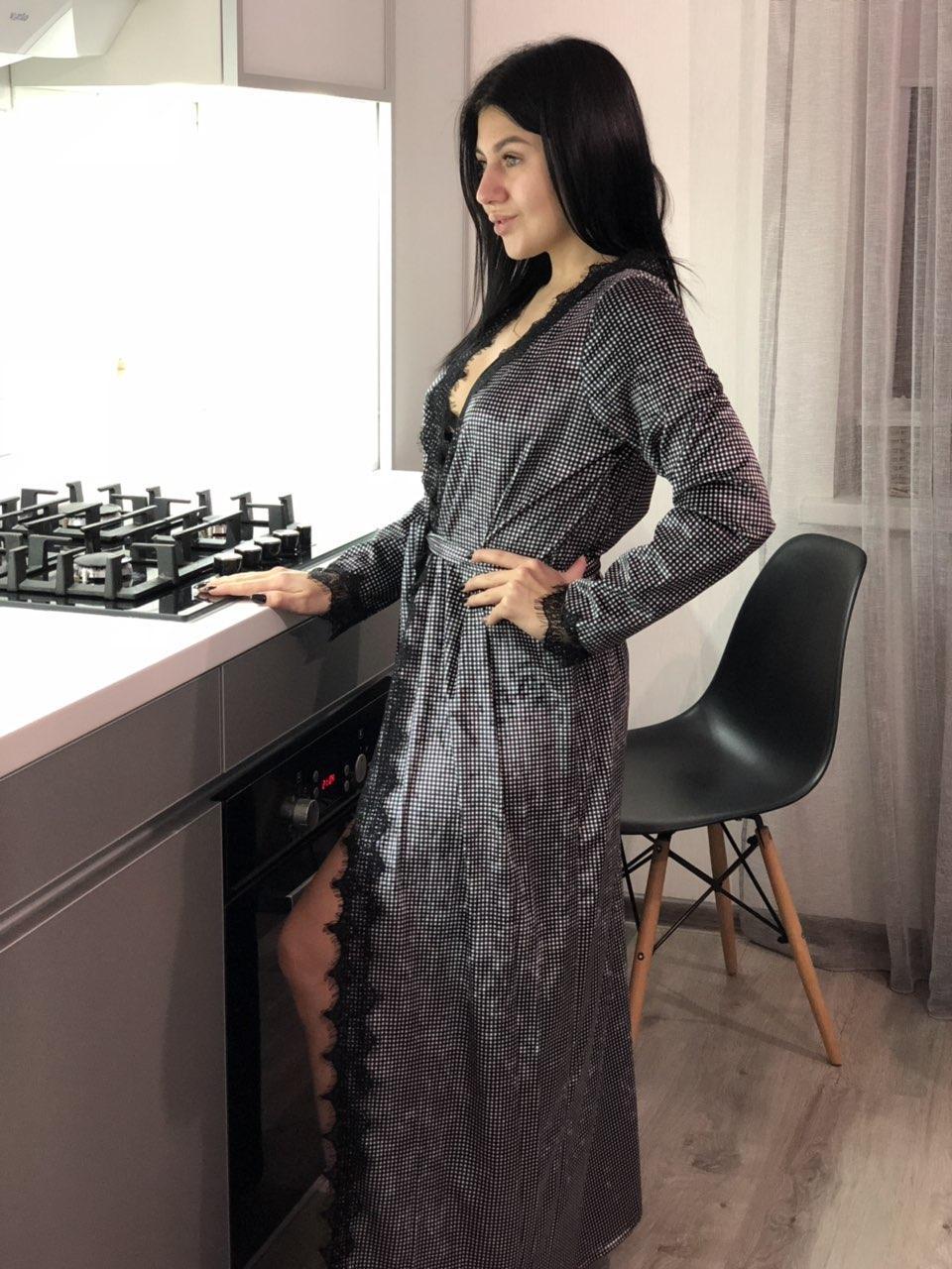 82021251e485 Домашний длинный халат в клетку ТМ Exclusive из велюровой ткани, размер  42-44 -