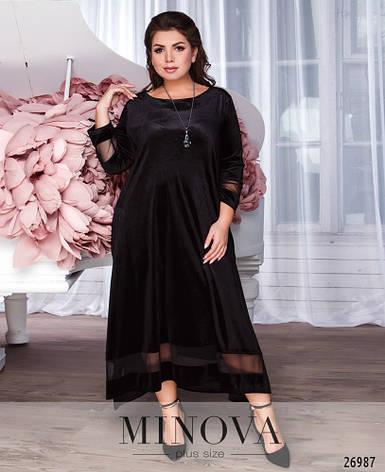 Шикарное нарядное бархатное женское платье размеры:50-56, фото 2