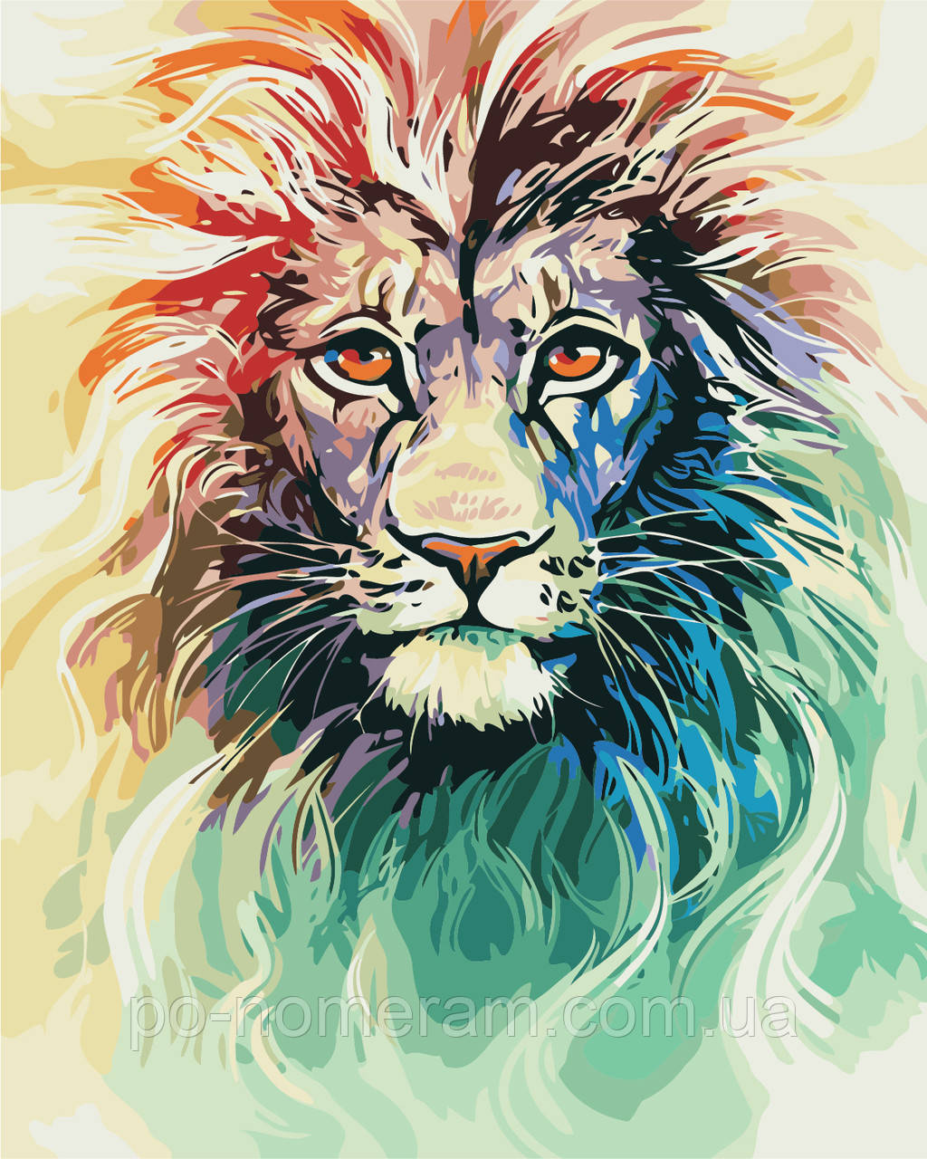 Раскраска для взрослых Цветной лев (AS0404) 40 х 50 см ArtStory