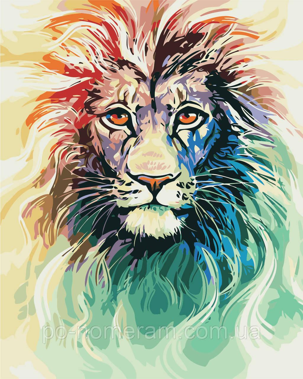 Раскраска для взрослых Цветной лев (AS0404) 40 х 50 см ...