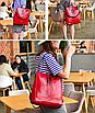 Рюкзак женский кожзам трансформер Braided сумка Красный, фото 2