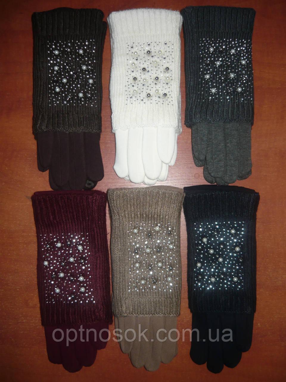 Женские перчатки с митенкой Корона на меху. Для сенсора. Бамбук.
