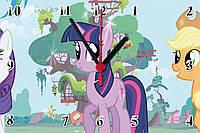 """Настенные часы """"Пони"""" кварцевые на стекле"""