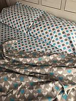Комплект постельного белья полуторный горошек сердечки