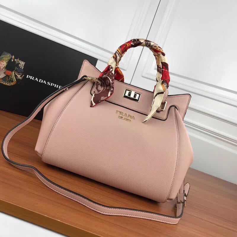 9ceca4fcdcda Женская кожаная сумка Prada с платком - Люкс реплики брендовых сумок, обуви  в Киеве