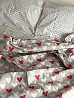 Комплект постельного белья с красными сердечками полуторный
