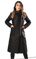Женская удлиненная стеганая куртка черного цвета на молнии. Модель 19224. Размеры 42-46