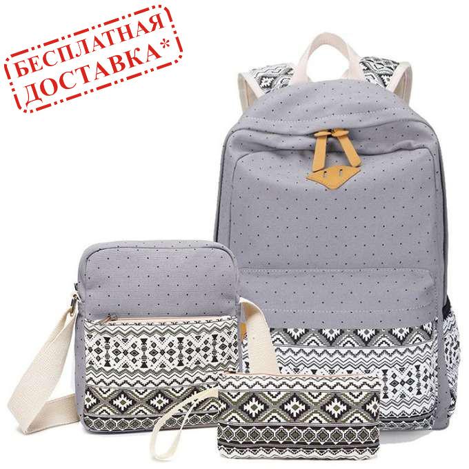 ebd41111fdab Стильный женский городской рюкзак 3 в 1 в скандинавском стиле тканевый  Бесплатная доставка 01036