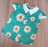 Размеры 128-152 детская летняя блузка Ромашка, фото 1