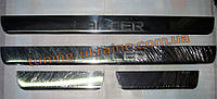 Хром накладки на пороги надпись штамповка для Mitsubishi Lancer 9 2003-2006 wagon