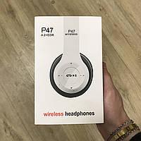 Беспроводные Bluetooth наушники P47 4.2+EDR Wireless headphones white  накладные блютуз белые d997ce66eb7e9