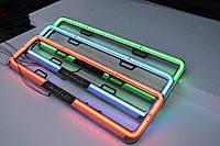Рамка под номер с неоновой подсветкой Синей, Рамка ХРОМ LED, Подсветка номера