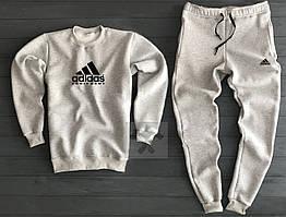 Зимний мужской спортивный костюм Adidas серого цвета