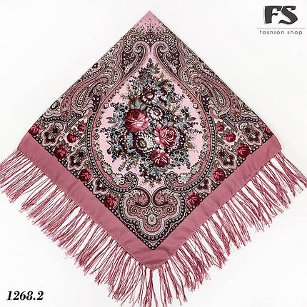 Павлопосадский розовый платок Полянка, фото 2
