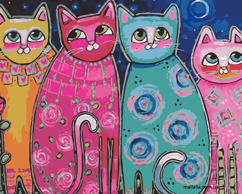 Картины по номерам 40*50 см В КОРОБКЕ Яркие коты Artstory