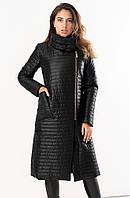 Женская удлиненная стеганая куртка черного цвета. Модель 19277. Размеры 42-46, фото 1
