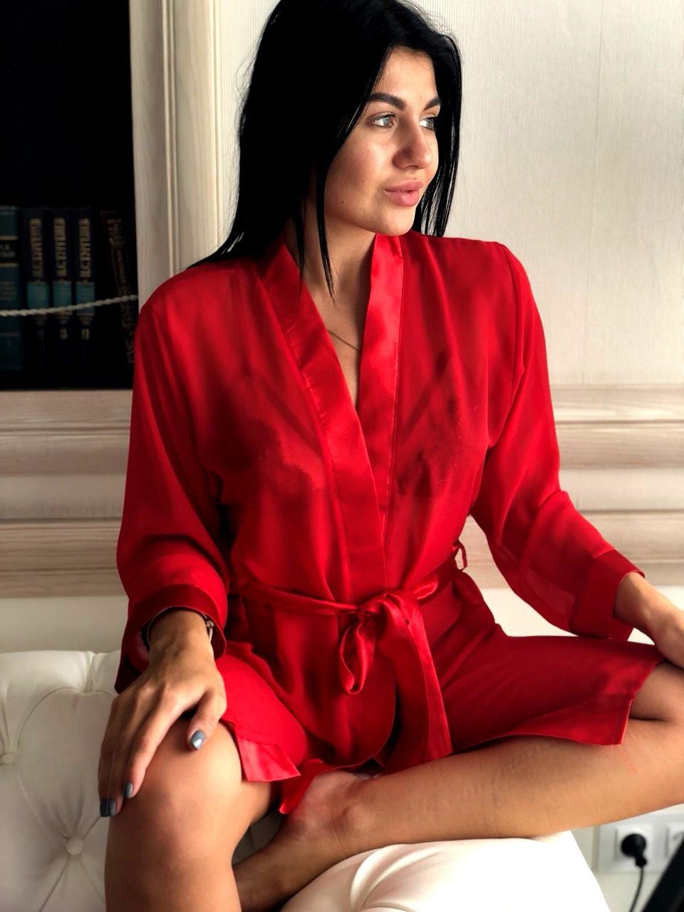 Красный шифоновый женский халат