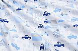 """Ткань хлопковая """"Голубые мини-машинки в городе"""" на белом  № 1667а, фото 3"""