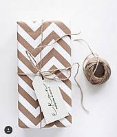 Крафт бумага упаковочная Белый зигзаг, 70 см, 80 г/м2