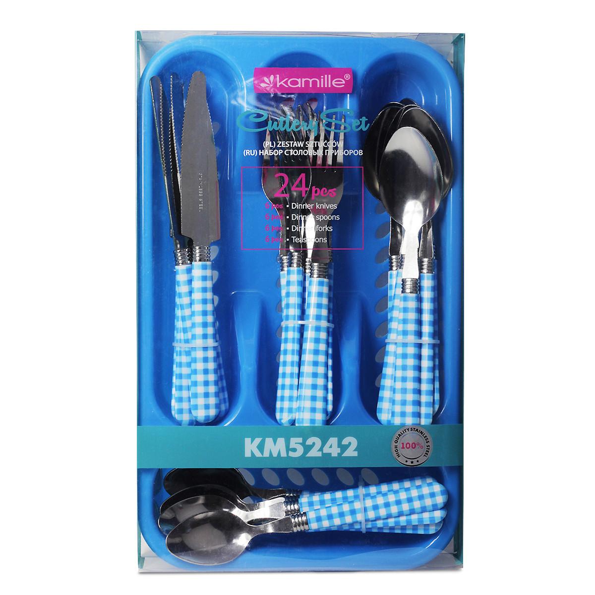 Набор столовых приборов Kamille Синий 24 предмета из нержавеющей стали с пластиковыми ручками и подставкой KM-5242
