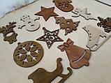 Набір новорічних іграшок на ялинку з дерева в подарунковій коробці з гравіруванням, фото 5