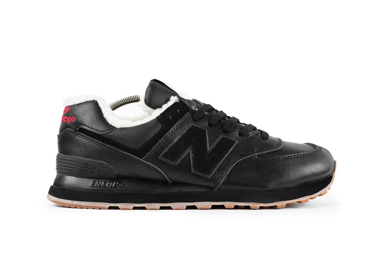 Мужские зимние стильные кроссовки New Balance 574 black (реплика), фото 1