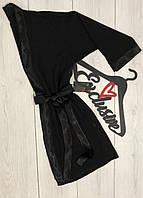 Одежда для дома, черный шифоновый халат под пояс.