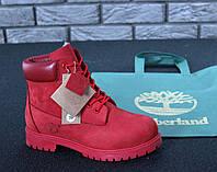 Ботинки в стиле Timberland, натуральный нубук и мех, красные, фото 1