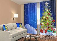 """Новогодние ФотоШторы """"Елка в снегу с подарками"""" 2,5м*2,9м (2 полотна по 1,45м), тесьма, фото 1"""
