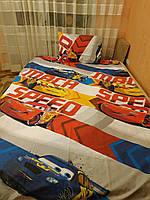 Детский комплект полуторного постельного белья Машинки