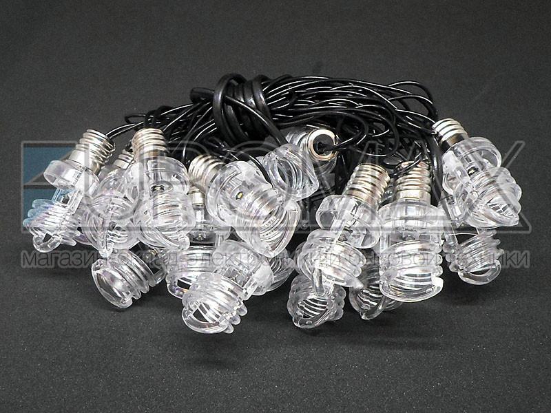 Гирлянда 20 спиральных ламп черный провод 1,8мм 4,0м (теплый белый) 20-BL-LINE-PLASTIC-WW-1
