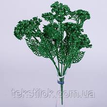 Цветы Незабудка зеленая блестки 34 см Новогодний декор
