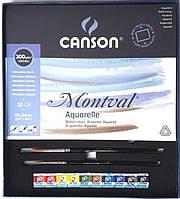 НАБОР Склейка MONTVAL 19*24см, 300г/м2, 10л., Canson + 10 кювет VanGogh + 2 кисти
