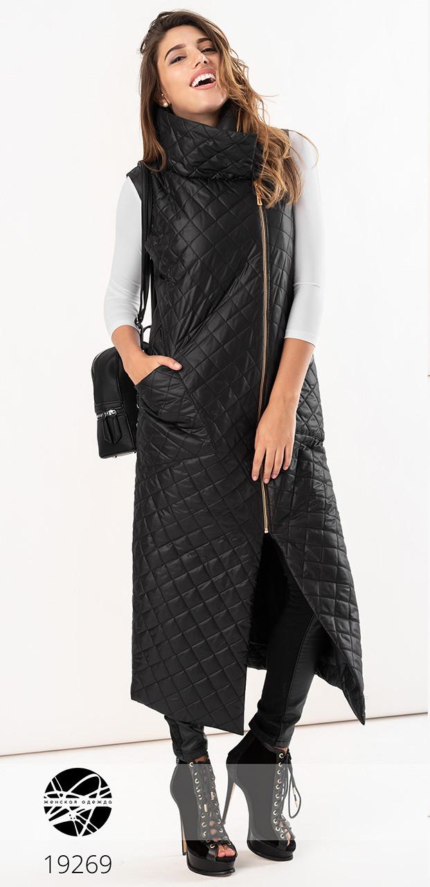 Женская стильная стеганая жилетка черного цвета. Модель 19641. Размеры 48-54
