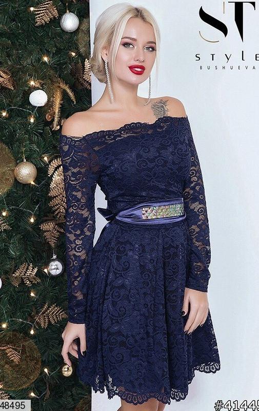Вечернее платье короткое пышное пояс длинный рукав гипюровое темно синее