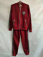 Спортивный костюм детскийдля девочки, 12-14лет, бордовый, фото 1