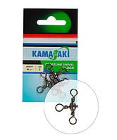 Вертлюг тройной Energofish Kamasaki Crossline Swivel Black №6 6шт (82260006)