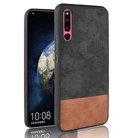 Чехол накладка для Huawei Honor Magic 2 с кожаной поверхностью, Double color, Черный