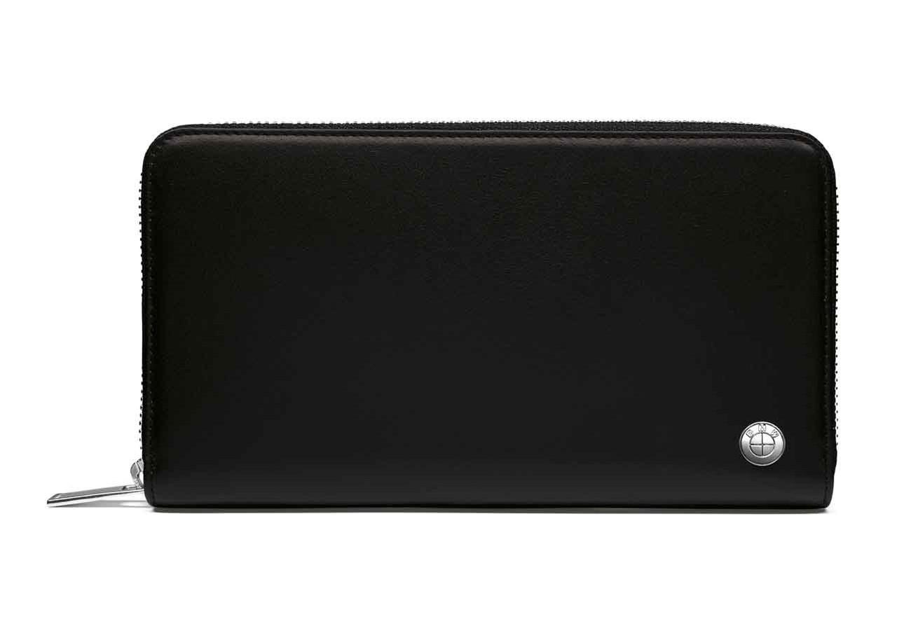 Кожаное портмоне BMW Wallet, Horizontal, Black, артикул 80212454669