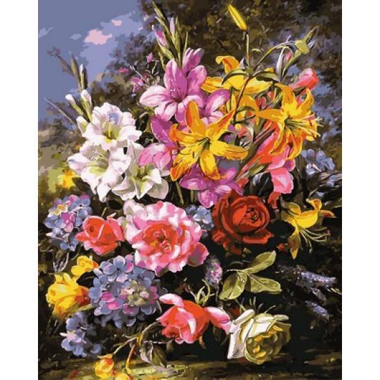 Картина по номерам Шикарный букет роз и лилий, 40x50 см., Mariposa