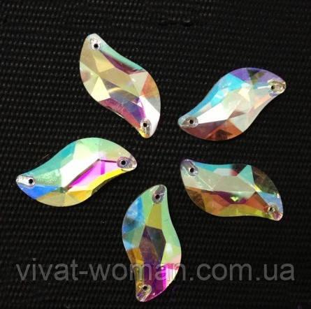 Стразы пришивные Листик 10*20 мм Crystal AB, стекло