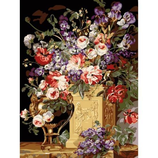 Картина по номерам VK086 Цветы в золотой вазе, 30x40 см., Babylon
