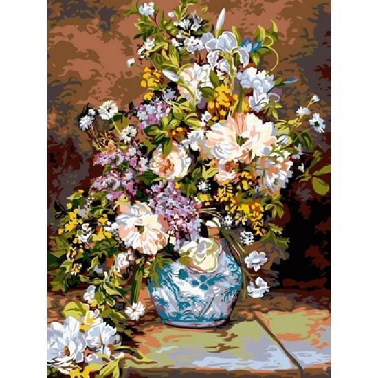Картина по номерам Цветы в расписной вазе, 30x40 см., Babylon