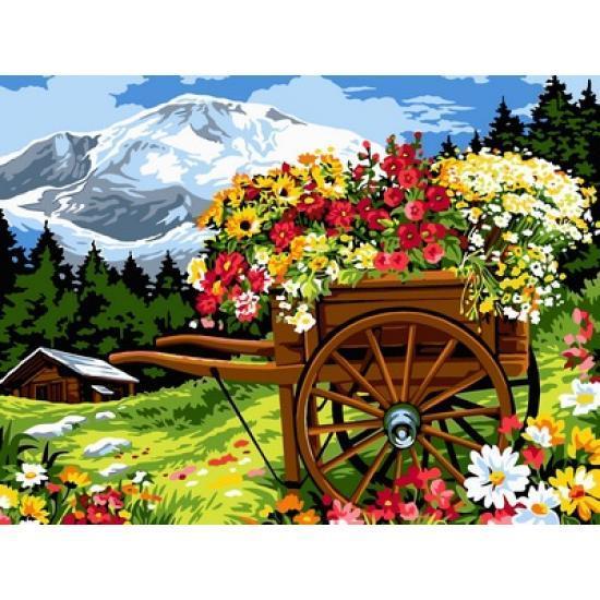 Картина по номерам Цветочник в телеге, 30x40 см., Babylon