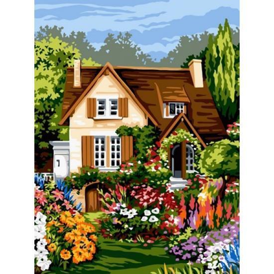 Картина по номерам Цветы перед домом, 30x40 см., Babylon