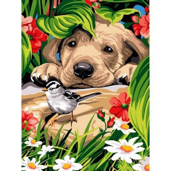 Картина по номерам Любопытный щенок и птичка, 30x40 см., Babylon